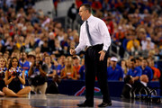 Head coach Billy Donovan of the Florida Gators reacts during the NCAA Men's Final Four Semifinal against the Connecticut Huskies at AT&T Stadium on April 5, 2014 in Arlington, Texas.
