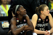 (L-R) Chiney Ogwumike #13 and Lindy La Rocque #15 of the Stanford Cardinal look on from the bench against the Baylor Bears during the National Semifinal game of the 2012 NCAA Division I Women's Basketball Championship at Pepsi Center on April 1, 2012 in Denver, Colorado.