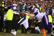 Patrick Robinson #21 of the Philadelphia Eagles returns an interception for a touchdown during the first quarter past Pat Elflein #65 of the Minnesota Vikings in the NFC Championship game at Lincoln Financial Field on January 21, 2018 in Philadelphia, Pennsylvania.