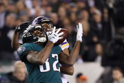 Torrey Smith #82 of the Philadelphia Eagles and Trae Waynes #26 of the Minnesota Vikings battle for a pass during the first quarter in the NFC Championship game at Lincoln Financial Field on January 21, 2018 in Philadelphia, Pennsylvania.