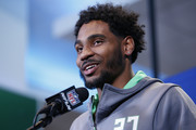 Wide receiver Braxton Miller #27 of Ohio State speaks to the media during the 2016 NFL Scouting Combine at Lucas Oil Stadium on February 25, 2016 in Indianapolis, Indiana.