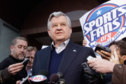 Carolina Panthers owner Jerry Richardson addresses the media at a news conference outside the Federal Mediation and Conciliation Service building March 11, 2011 in Washington, DC. Representatives from the National Football League (NFL) and National Football League Players' Association (NFLPA) failed to reach an agreement before their deadline.