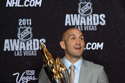 Ian Laperriere of the Philadelphia Flyers poses after winning the Bill Masterton Memorial Trophy during the 2011 NHL Awards at The Pearl concert theater at the Palms Casino Resort June 22, 2011 in Las Vegas, Nevada.