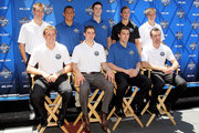 Top row (L-R) Taylor Hall, Emerson Etem, Erik Gudbranson, Jack Campbell, Mark Pysyk, bottom row (L-R) Cam Fowler, Tyler Seguin, Brandon Gormley, and Brett Connolly pose together during NHL top prospect media availibilty prior to the start of the 2010 NHL Draft outside Staples Center on June 24, 2010 in Los Angeles, California.