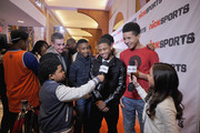 Cole Anthony, Kevin Greene, Judah McIntyre and Bryce Council speaking to Benjamin Flores Jr and Breanna Yde at the NICKSPORTS special screening and party for Little Ballers Documentary at Chelsea Piers on February 14, 2015 in New York City.