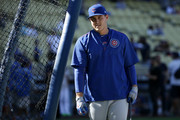 Anthony Rizzo #44 of the Chicago Cubs looks on during batting practice prior to game four of the National League Championship Series against the Los Angeles Dodgers at Dodger Stadium on October 19, 2016 in Los Angeles, California.