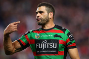 Greg Inglis of the Rabbitohs shows his emotion during the NRL Preliminary Final match between the Sydney Roosters and the South Sydney Rabbitohs at Allianz Stadium on September 22, 2018 in Sydney, Australia.
