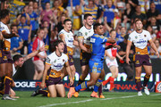 Sam Thaiday, Darius Boyd, Ben Hunt, James Roberts and Matt Gillett of the Broncos look to the referee as Michael Jennings of the Eels celebrates scoring a try only to have it disallowed for a double movement during the round one NRL match between the Parramatta Eels and the Brisbane Broncos at Pirtek Stadium on March 3, 2016 in Sydney, Australia.