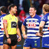 Henry Perenara Photos - Referee Henry Perenara shares a laugh with Josh Jackson of the Bulldogs during the round 24 NRL match between the St George Illawarra Dragons and the Canterbury Bulldogs at UOW Jubilee Oval on August 26, 2018 in Sydney, Australia. - NRL Rd 24 - Dragons v Bulldogs