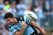 Chad Townsend of the Sharks celebrates scoring a try during the round 24 NRL match between the Cronulla Sharks and the Newcastle Knights at Southern Cross Group Stadium on August 26, 2018 in Sydney, Australia.