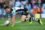 Chad Townsend of the Sharks scores a try during the round 24 NRL match between the Cronulla Sharks and the Newcastle Knights at Southern Cross Group Stadium on August 26, 2018 in Sydney, Australia.