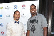 NFL players Terrell Thomas (L) and Chris Canty attend NY Giants Justin Tuck's 3rd Annual Celebrity Billiards Tournament at Slate on June 2, 2011 in New York City.