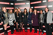 "(L-R) Attorney Susan Simpson, participant/producer Rabia Chaudry, executive producer Jemima Khan, director/executive producer Amy Berg, executive producer Henrietta Conrad, executive vice president of HBO documentary and family programming Nancy Abraham, executive vice president of HBO documentary and family programming Lisa Heller, guest and participant Laura Estrada Sandoval attend NY premiere of HBO's ""The Case Against Adnan Syed"" at PURE NON FICTION on February 26, 2019 in New York City."