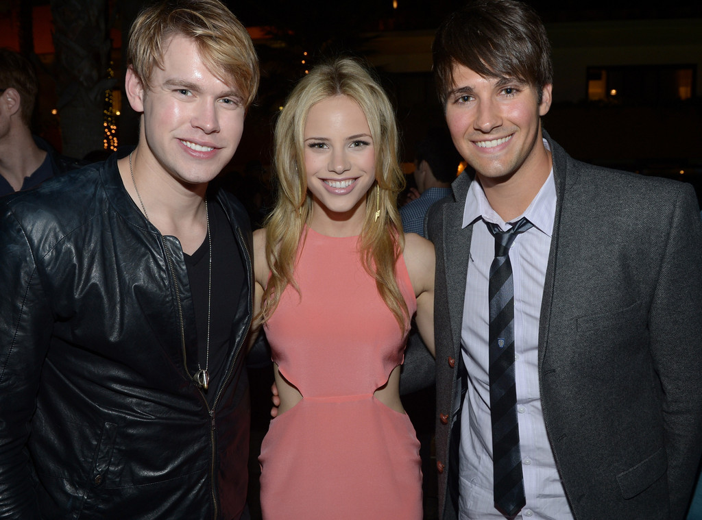 Halston Sage with ex-boyfriends James Maslow and Chord Overstreet