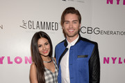Actress Victoria Justice (L) and actor Pierson Fode attend the NYLON Young Hollywood Party presented by BCBGeneration at HYDE Sunset: Kitchen + Cocktails on May 7, 2015 in West Hollywood, California.