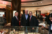 Publisher of NYMag Larry Burstein (C) and VP of Advertising and Marketing at Tourneau Richard Gellman pose with a Tourneau salesman (L) during NYMag Toasts Tourneau at Tourneau Boutique on June 17, 2015 in New York City.