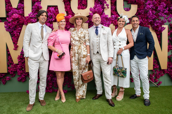 Celebrities Attend 2020 Magic Millions Raceday [decoration,ceremony,marriage,event,wedding reception,wedding,pink,formal wear,tradition,party,celebrities,nacho figueras,billy slater,nicole slater,mike tindall,delfina blaquier,zara phillips,l-r,gold coast turf club,magic millions raceday,zara phillips,mike tindall,prince harry duke of sussex,queen elizabeth ii,charles prince of wales,british royal family,princess,succession to the british throne,royal family]
