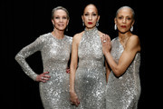 (L-R) Models Karen Bjornson, Pat Cleveland and Alva Chinn pose backstage for Naeem Khan fashion show during New York Fashion Week: The Shows at Gallery I at Spring Studios on February 12, 2019 in New York City.