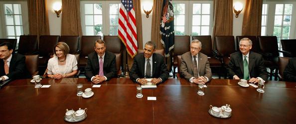 Obama And Congressional Leaders Continue Talks On Debt Ceiling And Deficit [event,businessperson,official,speaker,management,meeting,barack obama,leaders,nancy pelosi,r,eric cantor,harry reid,debt ceiling,deficit,congressional,talks]