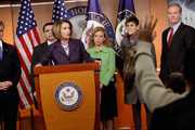 Outgoing Speaker of the House Nancy Pelosi (D-CA) (C) holds a news conference with fellow House Democratic leaders (L-R) Rep. Rob Andrews (D-NJ), Rep. Henry Cuellar (D-TX), Rep. Debbie Wasserman Schultz (D-FL), Rep. Rosa DeLauro (D-CT) and Rep. Chris Van Hollen (D-MD) in the U.S. Capitol Visitors Center January 4, 2011 in Washington, DC. The Democratic leaders encouraged the incoming Republican majority to continue the previous Congress' policies of job and economic growth.