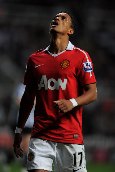 Nani Nani of Manchester United reacts during the Barclays Premier League match between Newcastle United and Manchester United at St James' Park on April 19, 2011 in Newcastle, England.