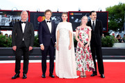 (L-R)  Vlad Ivanov, Laszlo Nemes, Juli Jakab, Susanne Wuest and Christian Harting walk the red carpet ahead of the 'Napszallta (Sunset)' screening during the 75th Venice Film Festival at Sala Grande on September 3, 2018 in Venice, Italy.