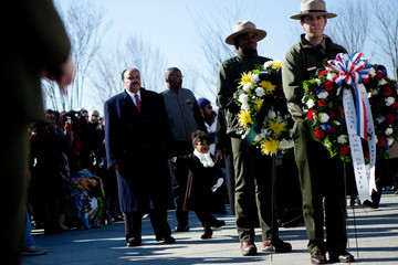 Martin Luther King III Nat'l Park Service Holds Wreath Laying Ceremony At Martin Luther King Jr. Memorial