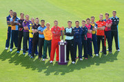 (L-R) Mike Hogan of Glamorgan, Chesney Hughes of Derbyshire, Marcus Trescothick of Somerset, Andrew Gale of Yorkshire, Michael Klinger of Gloucestershire, Ben Raine of Leicestershire, Yasar Arafat of Surrey, James Taylor of Nottinghamshire, Jos Buttler of Lancashire, Steven Davies of Surrey, Greg Smith of Essex, Ben Duckett of Northamptonshire, Eoin Morgan of Middlesex, Jim Troughton of Warwickshire, Ben Stokes of Durham, Rob Key of Kent and Jack Shantry of Wocestershire pose during the NatWest T20 Blast Player Photocall at Edgbaston on April 17, 2014 in Birmingham, England.
