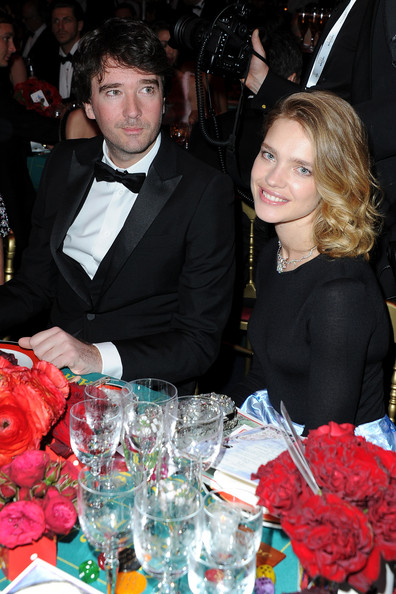 Karl Lagerfeld and Natalia Vodianova attend the cocktail