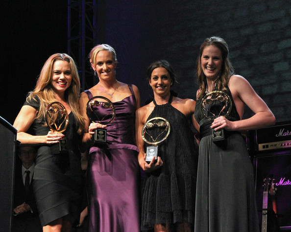Golden Goggles [relay performance of the year,event,competition,fashion,dress,performance,talent show,award ceremony,formal wear,fashion design,golden goggles,natalie coughlin,rebecca soni,dana vollmer,missy franklin,l-r,award,los angeles,california]
