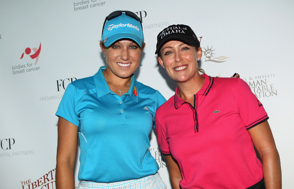 Liberty Cup Pro Am [photo,fun,recreation,t-shirt,cap,golf,leisure,competition event,cristie kerr,natalie gulbis,r,new jersey,jersey city,l,liberty cup,start,birdies for breast cancer foundation liberty cup]