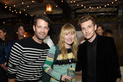 (L-R) Nate Berkus, Amy Astley and Jeremiah Brent attend the Nate + Jeremiah For Living Spaces Upholstery Collection Launch Dinner at Gallow Green at the McKittrick Hotel on September 25, 2018 in New York City.