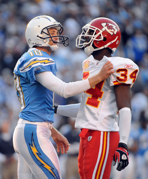 San Diego Chargers Chiefs: Nate Kaeding And Travis Daniels Photos Photos