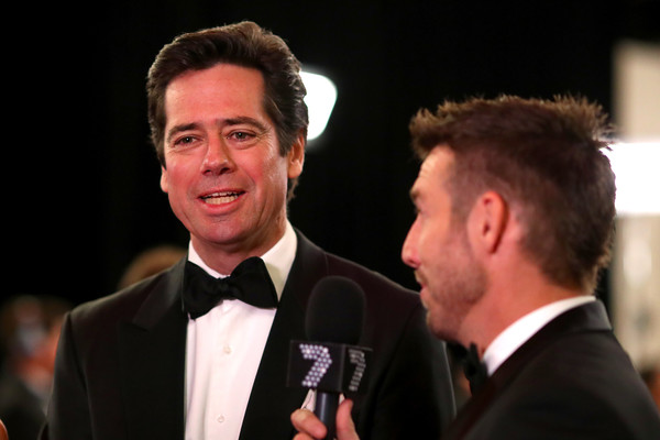 2019 Brownlow Medal [event,formal wear,suit,award,smile,tuxedo,white-collar worker,performance,brownlow medal,crown palladium,melbourne,australia,gillon mclachlan]