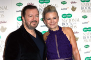 Jane Fallon, author of 'Faking Friends', and Ricky Gervais (L) attend the National Book Awards at RIBA on November 20, 2018 in London, England.