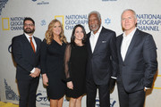 """NGC President Original Programming and Production, Tim Pastore, Executive Producer Lori McCreary, CEO of NGC Global Networks Courteney Monroe, Executive Producer Morgan Freeman, and Executive Producer James Younger attend National Geographic Channel's world premiere screening of """"The Story of God with Morgan Freeman,"""" at Jazz at Lincoln Center on March 21, 2016. The six-part event series, premiering on the network on Sunday, April 3 at 9/8c, will take viewers on a trip around the world to explore different cultures and religions on the ultimate quest to uncover the meaning of life, God and all the big questions in between."""