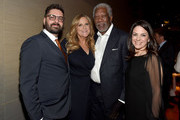 """(L-R) Tim Pastore, Lori McCreary, Morgan Freeman and Courteney Monroe attend National Geographic """"The Story Of God"""" With Morgan Freeman World Premiere After Party at Jazz at Lincoln Center on March 21, 2016 in New York City."""