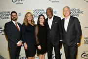 """(L-R) Tim Pastore, Lori McCreary, Courteney Monroe, Morgan Freeman and James Younger attend the world premiere of National Geographic's """"The Story Of God"""" with Morgan Freeman at Jazz at Lincoln Center on March 21, 2016 in New York City."""