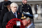 Prime Minister Boris Johnson holds a poppy wreath during a National Service of Remembrance at the Cenotaph in Westminster, amid the spread of coronavirus (COVID-19) disease on November 8, 2020 in London, England. Remembrance Sunday services are still able to go ahead despite the covid-19 measures in place across the various nations of the UK. Each country has issued guidelines to ensure the safety of those taking part.