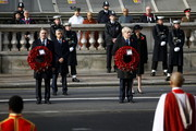 (L-R) Britain's Labour Party leader Keir Starmer, Mayor of London Sadiq Khan, Prime Minister Boris Johnson and former Prime Minister Theresa May attend the National Service Of Remembrance at the Cenotaph in Westminster, amid the spread of coronavirus (COVID-19) disease on November 8, 2020 in London, England. Remembrance Sunday services are still able to go ahead despite the covid-19 measures in place across the various nations of the UK. Each country has issued guidelines to ensure the safety of those taking part.
