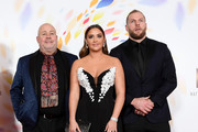 """(L-R) Cliff Parisi, Jacqueline Jossa and James Haskell accepting the The Bruce Forsyth Entertainment Award for """"I'm A Celebrity... Get Me Out Of Here!"""", pose in the winners room during the National Television Awards 2020 at The O2 Arena on January 28, 2020 in London, England."""