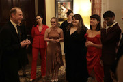 Prince Edward, Earl of Wessex with National Youth Theatre performers during the National Youth Theatre Baroque And Roll Fundraising Gala 2020 at Spencer House on February 11, 2020 in London, England.