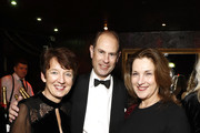 (L-R) Dawn Airey.Chief Executive Officer of Getty Images, Prince Edward, Earl of Wessex and Barbara Broccoli attend the annual National Youth Theatre Fundraising evening at Cafe Royal on November 26, 2018 in London, England.
