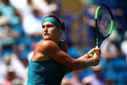 Aryna Sabalenka of Belarus in action during her womens singles semi final match against Agnieszka Radwankska of Poland during Day Eight of the Nature Valley International at Devonshire Park on June 29, 2018 in Eastbourne, United Kingdom.