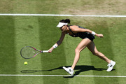 Agnieszka Radwanska of Poland in action against Aryna Sabalenka of Belarus during her semi-final match on day eight of the Nature Valley International at Devonshire Park on June 29, 2018 in Eastbourne, United Kingdom.