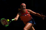 Jelena Ostapenko of Latvia in action during her womens singles quarter final match against Agnieszka Radwanska of Poland during Day Seven of the Nature Valley International at Devonshire Park on June 28, 2018 in Eastbourne, United Kingdom.