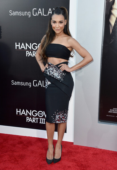 'The Hangover Part III' Premieres in LA — Part 3 [hangover part 3,clothing,dress,shoulder,carpet,red carpet,premiere,strapless dress,hairstyle,fashion,cocktail dress,naya rivera,arrivals,california,westwood village theater,warner bros. pictures,westwood,premiere,premiere]