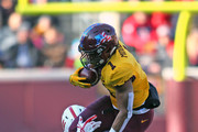 Rodney Smith #1 of the Minnesota Golden Gophers carries the ball for a first down in the first quarter against the Nebraska Cornhuskers at TCF Bank Stadium on November 11, 2017 in Minneapolis, Minnesota.