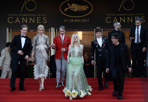 'How to Talk to Girls at Parties' Red Carpet Arrivals - The 70th Annual Cannes Film Festival [how to talk to girls at parties,red carpet,carpet,event,fashion,flooring,formal wear,ceremony,premiere,dress,wedding,red carpet arrivals,abraham lewis,alex sharp,elle fanning,nicole kidman,john cameron mitchell,neil gaiman,british,cannes film festival]
