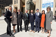 """(L-R) Frederic Levy, Patty Harris, Jerry Spire, Michael Bloomberg, Ugo Rondinone, Nicholas Baume, Susan Freedman and Kate Levin attend Nespresso announces premier partnership with """"Human Nature by Ugo Rondinone"""" Exhibit on April 22, 2013 at Rockefeller Center in New York City."""